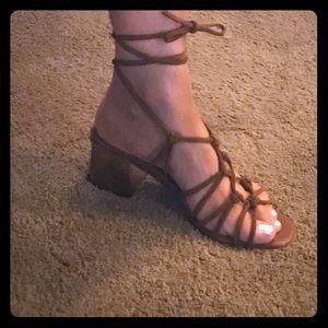 Topshop Lace Up Metallic Heel Sandals Sz 8